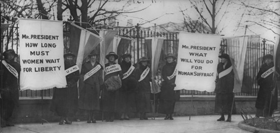 Suffragists picketting the White House.