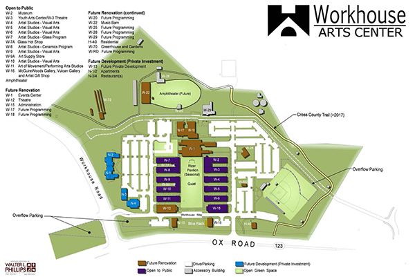 Workhouse Arts Center Site Map.