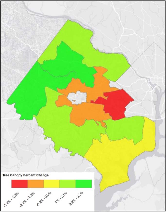 Tree canopy percent change by supervisory district