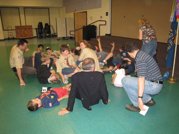 Cub Scouts participating in an activity
