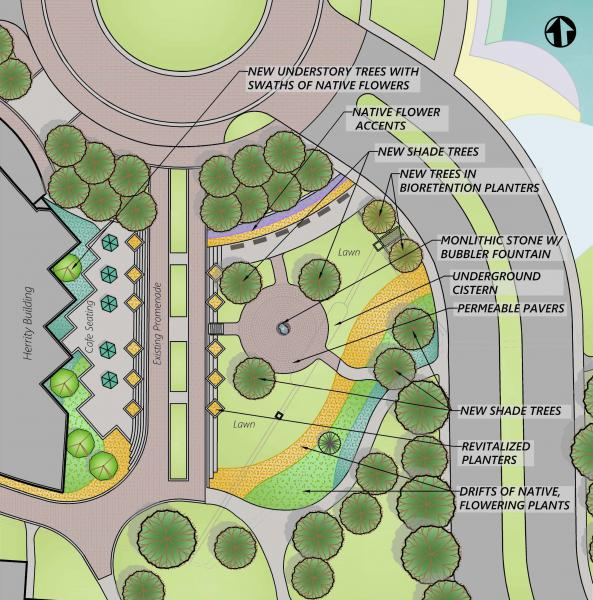 Rendering of rain garden design