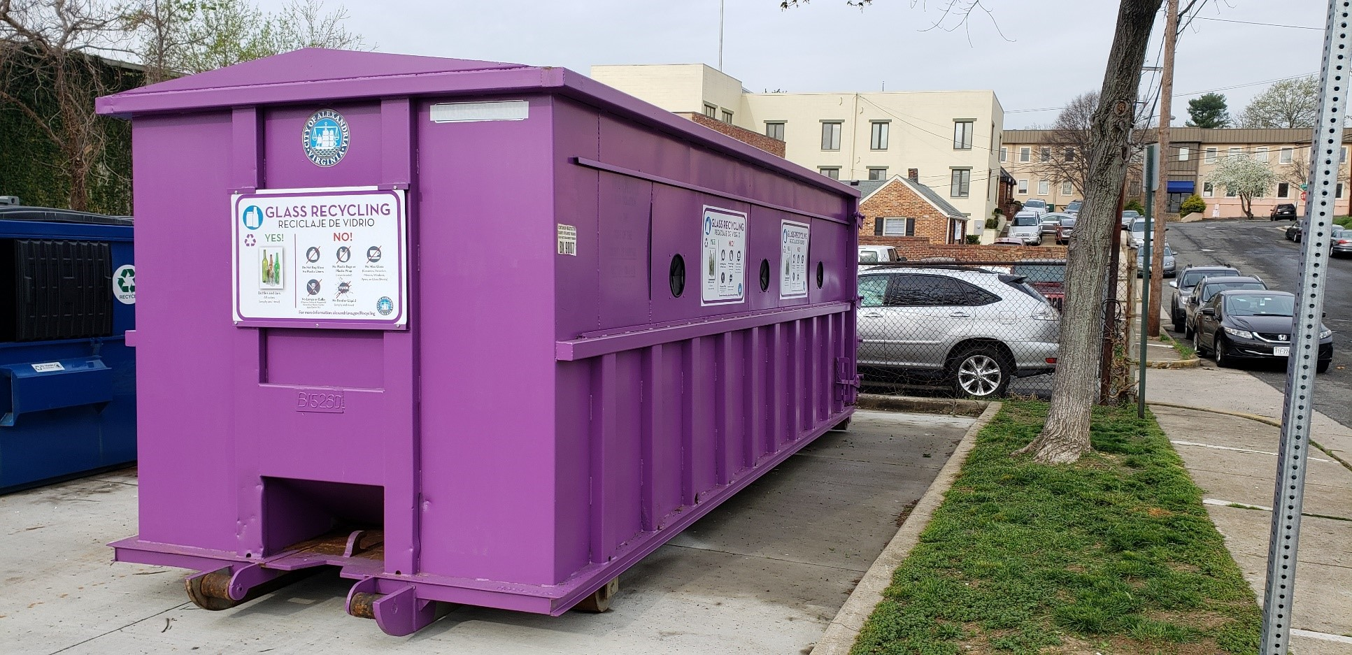 Purple drop-off container