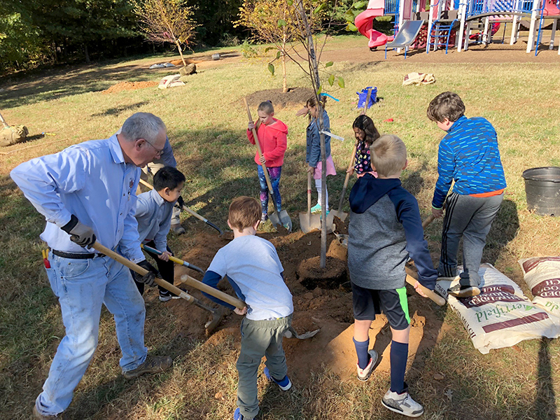 Planting Native Trees at Mantua Elementary School