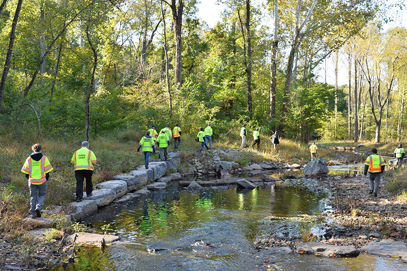 Public Works Staff Tour Completed Stormwater Management Projects