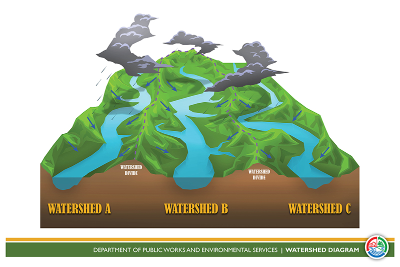 3D depiction of what is a watershed