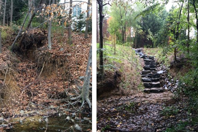 Befor and After photos of stormwater improvement project