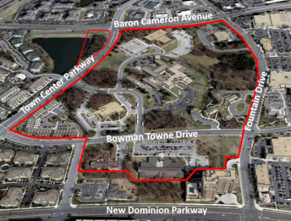 arial map of redevelopment area