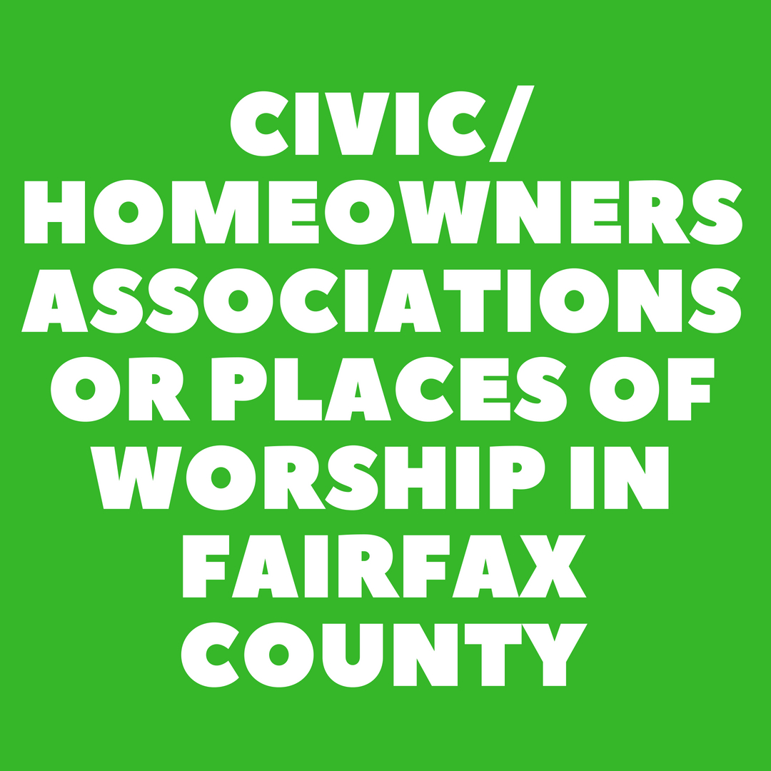 Civic/Homeowners Associations or Places of Worship in Fairfax County