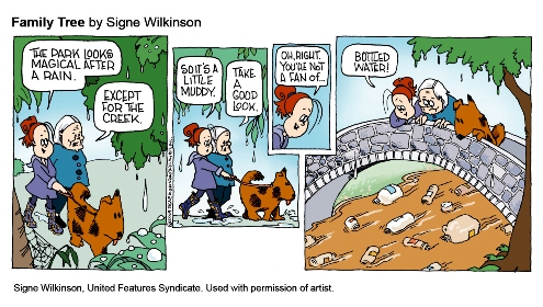 Bottled Water Comic. The park looks magical after a rain, except for the creek, which is filled with water bottles!