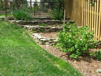Terraces can be backfilled with soil amendment.