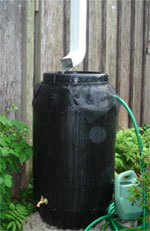 A rain barrel captures water for later use.