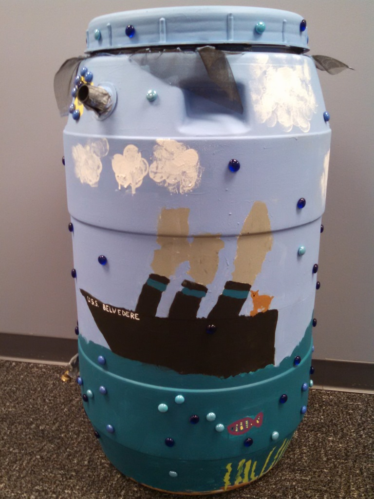 Belvedere Elementary School rain barrel art