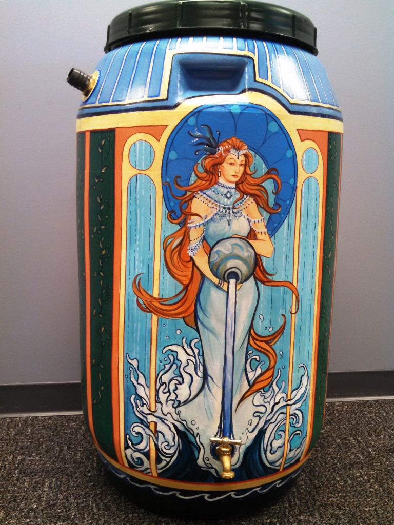 Michelle Davies rain barrel art