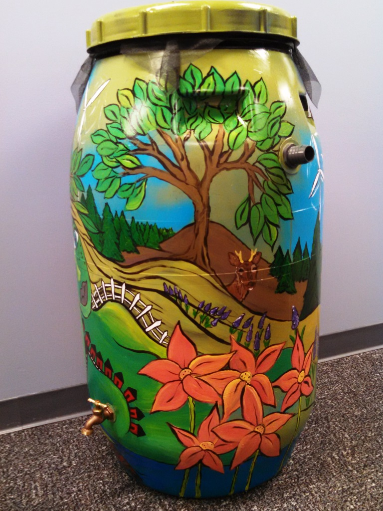 Gretchen Harris rain barrel art
