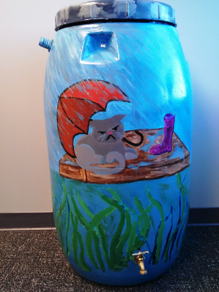 Howard Gardner School rain barrel art