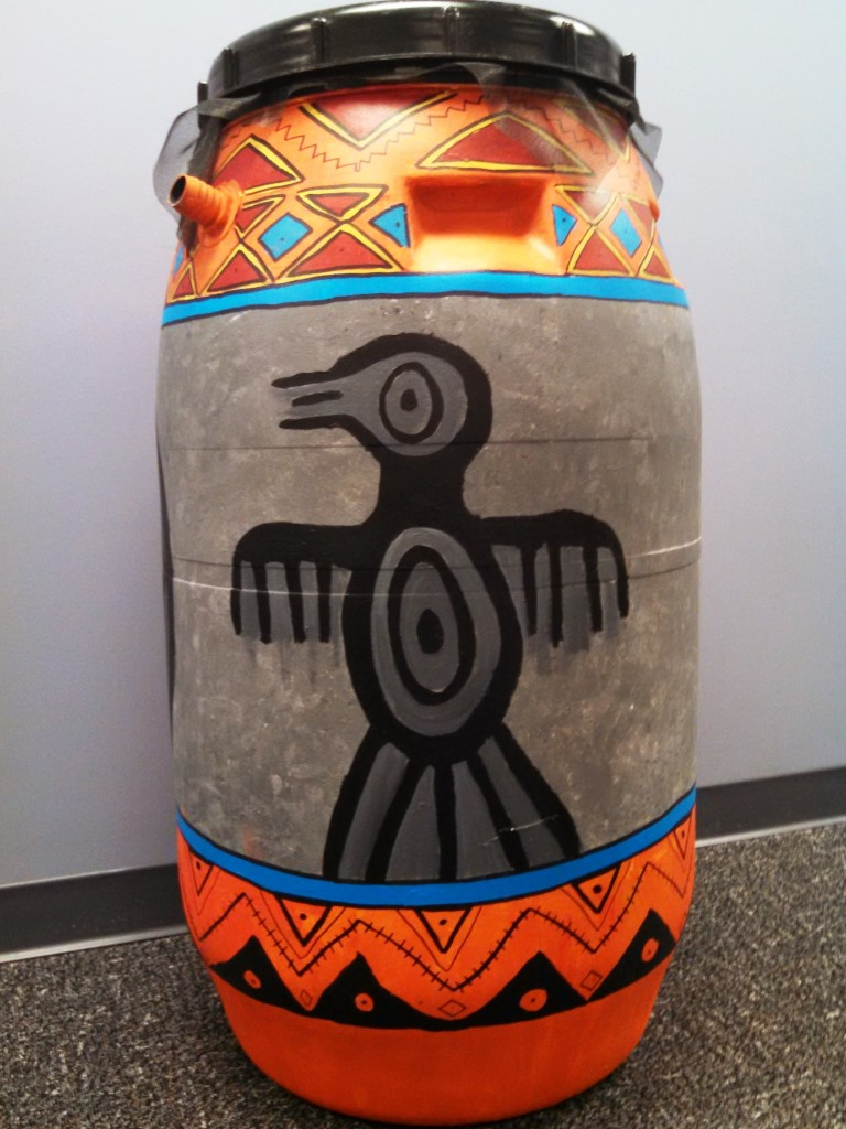 Key Elementary rain barrel art