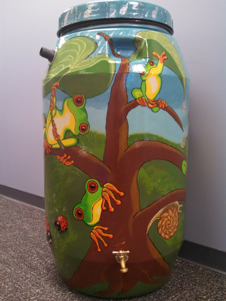 Donna LaFontain rain barrel art