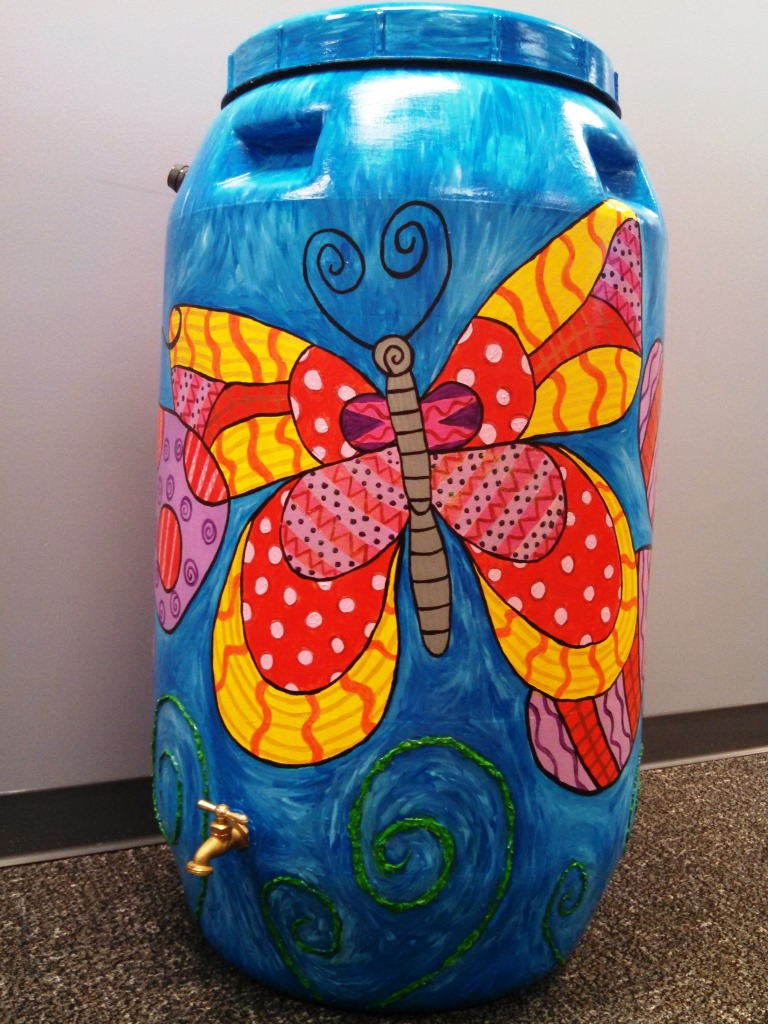 Jenny Whiteman rain barrel art
