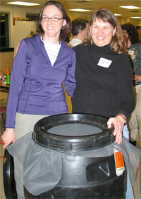 A completed rain barrel built at a workshop