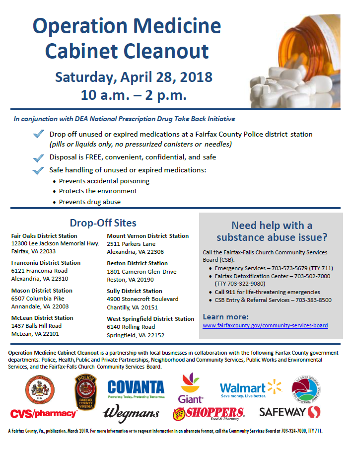 Operation Medicine Cabinet Cleanout Event Flier