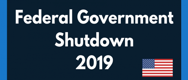 "decorative banner image stating ""Federal Government Shutdown 2019"" with USA flag"