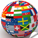 Globe with various flags representing Web site language translations