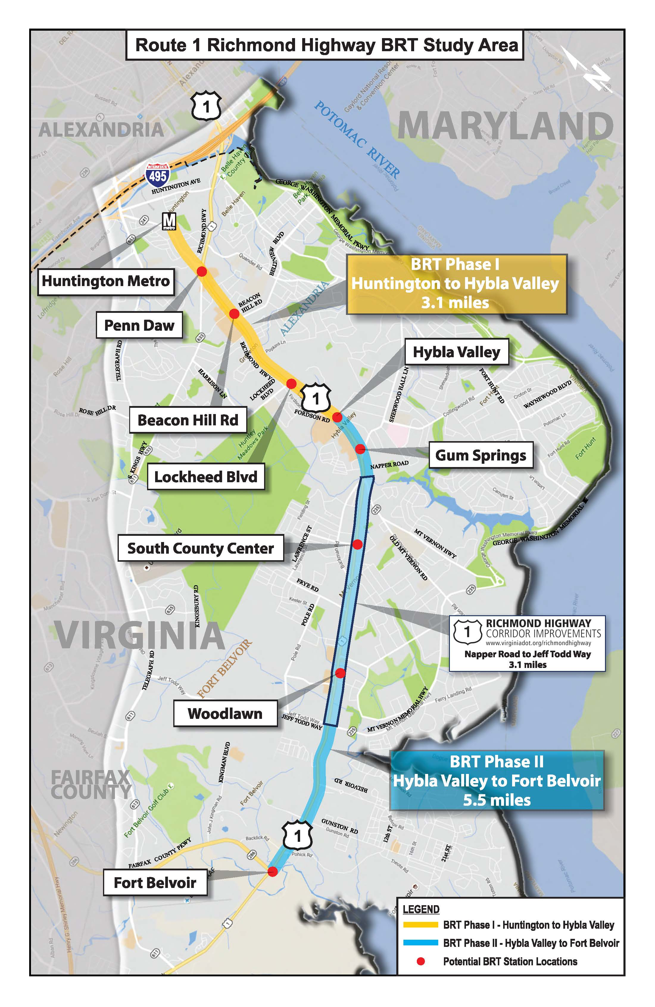 Brt Project Background Transportation - Map-of-us-route-1