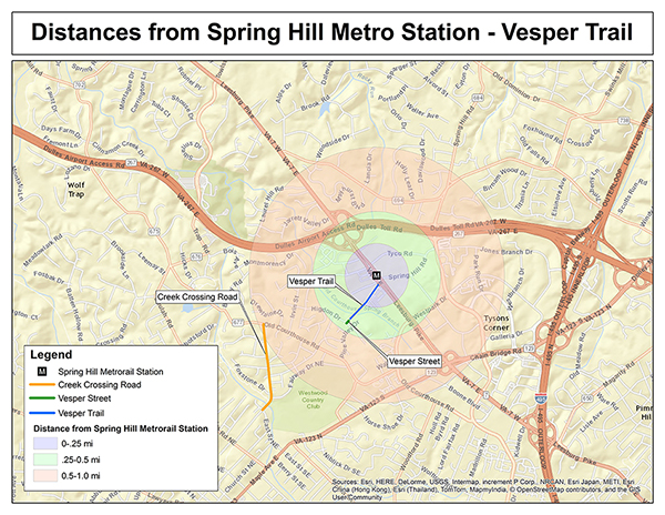 Distances from Spring Hill Metro Station - Vesper Trail