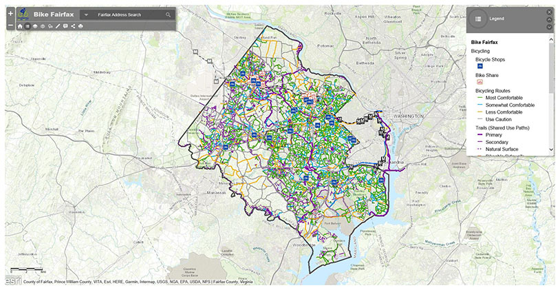 Fairfax county bicycle map transportation bike fairfax interactive map sciox Gallery